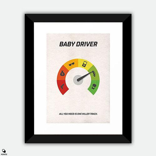 Baby Driver Minimalist Framed Print - Speedometer