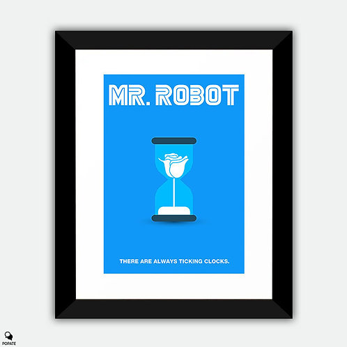Mr. Robot Minimalist Framed Print - Whiterose