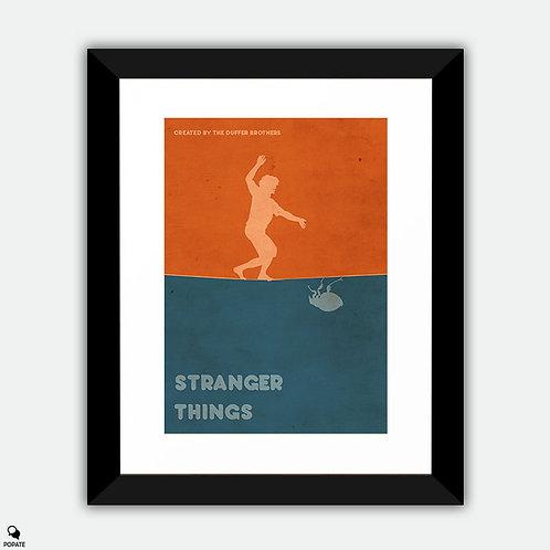 Stranger Things Minimalist Vintage Framed Print