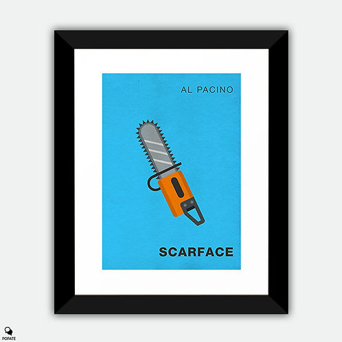 Scarface Minimalist Framed Print - Chainsaw