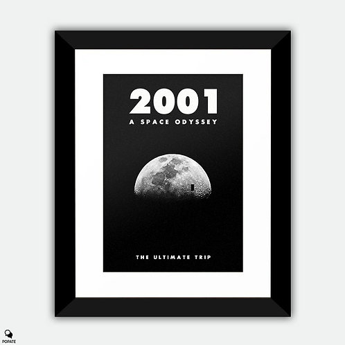 2001: A Space Odyssey Minimalist Framed Print - Moon