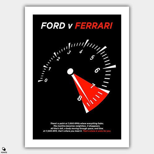 Ford v Ferrari Alternative Minimalist Poster - 7000 RPM