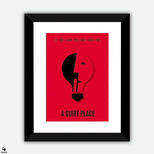 A Quiet Place Minimalist Framed Print - Shhh
