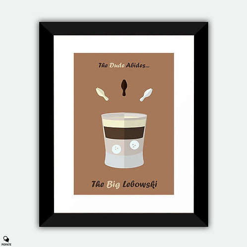 The Big Lebowski Minimalist Framed Print - White Russian