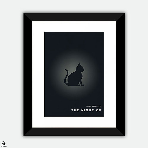 The Night Of Minimalist Framed Print - Cat