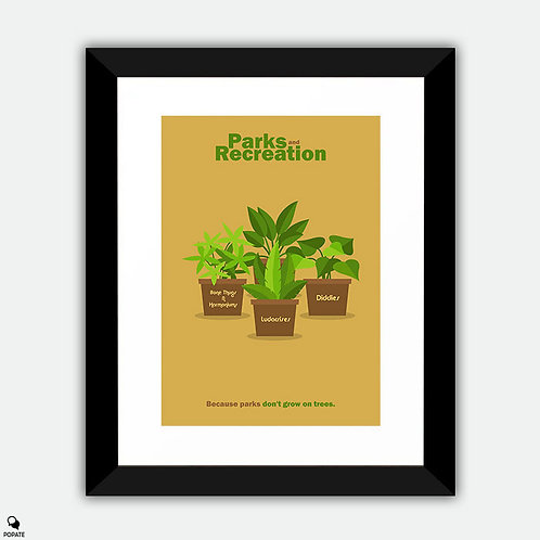 Parks And Recreation Minimalist Framed Print - Plants