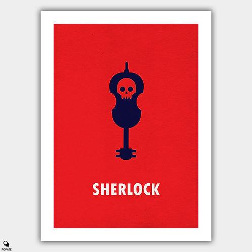Sherlock Minimalist Poster - Violin and Skull