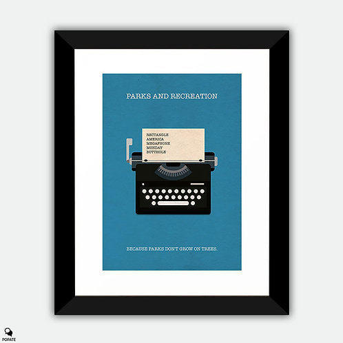Parks And Recreation Minimalist Framed Print - Typewriter