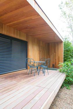 terrasse, volets fermés