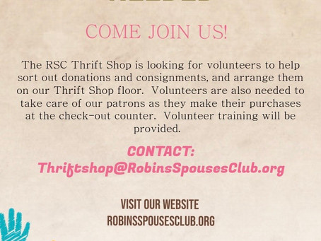 Reopening of the RSC Thrift Shop