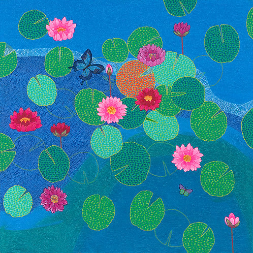 Blue Pond I - Reproduction Giclee Art Print On Canvas