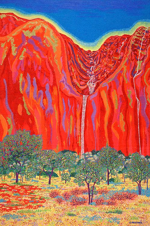 Desert Magic Falls - Reproduction Giclee Art Print On Canvas