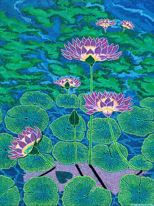 Water Lillies - Reproduction Giclee Art Print On Canvas