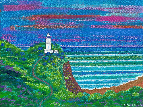 Cape Byron Lighthouse at Dusk - Reproduction Giclee Art Print On Canvas
