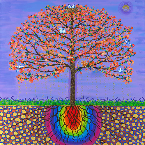 The Buddha Bodhi Tree - Reproduction Giclee Art Print On Canvas