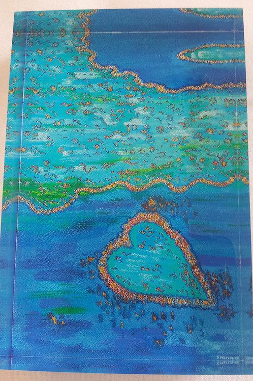 Art Block - Barrier Reef Heart (Acrylic)