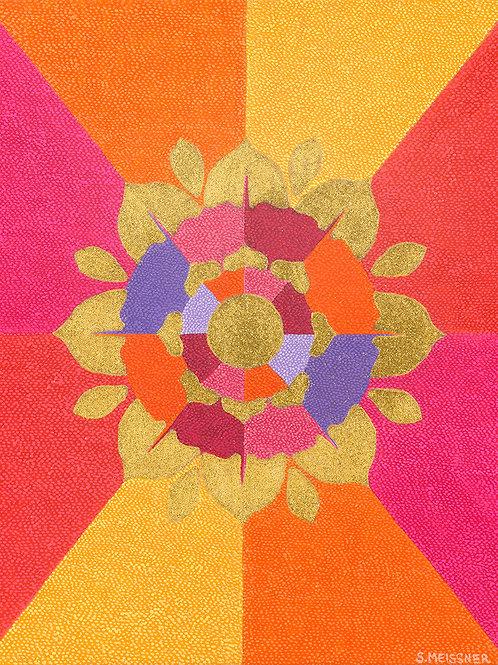 Flower Of Enlightenment - Oil and Gold Shimmer Artwork