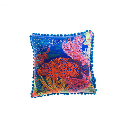 WS Cushion Red Rock Cod Fish - With Swarovski® 100% Branded Crystals