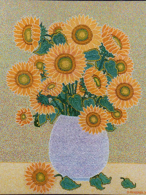 Sunflowers In A Vase - Oil and Shimmer Artwork