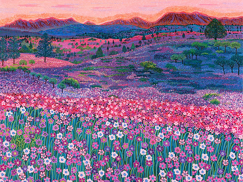 Pink Weed Outback Carpet - Reproduction Giclee Art Print On Canvas