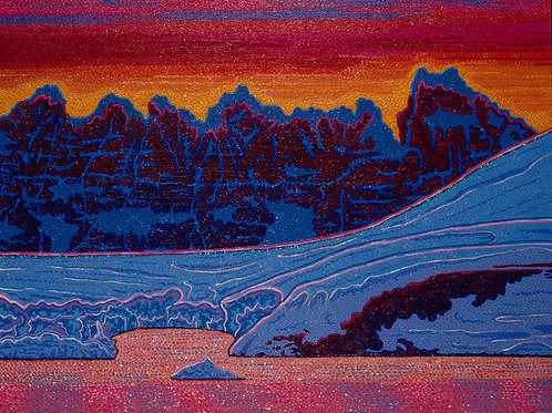Crystal Waters In Sunset - Reproduction Giclee Art Print On Canvas