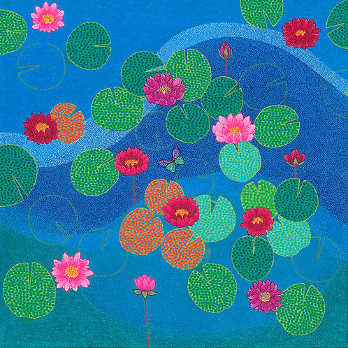 Blue Pond II - Reproduction Giclee Art Print On Canvas