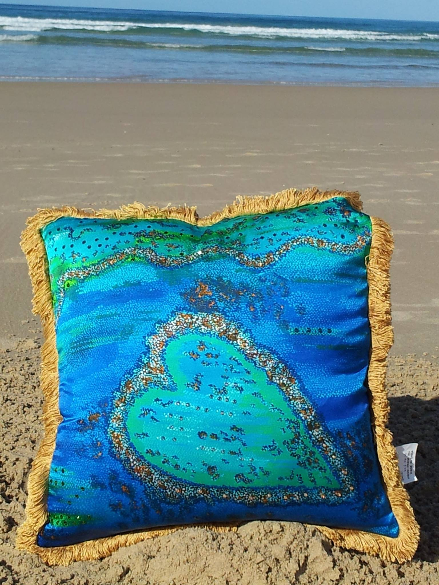 Barrier Reef Heart Cushion
