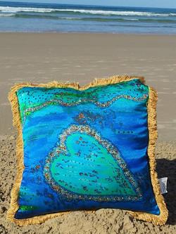 Barrier Reef Heart Cushion