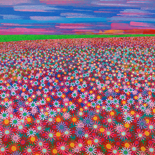 A Field Of Flowers - Reproduction Giclee Art Print On Canvas