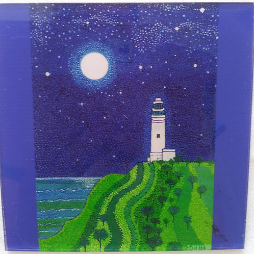 Art Block - Cape Bryon Light House in Blue Moon (Acrylic)