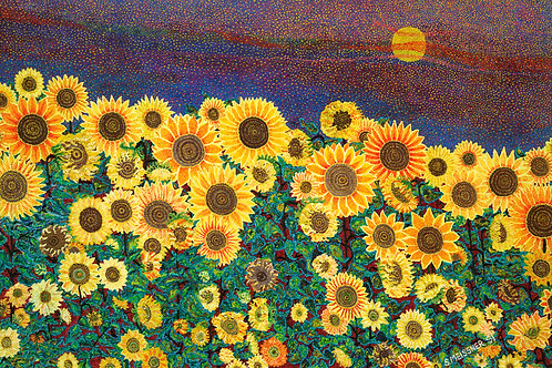 Magnetic Sunflowers - Reproduction Giclee Art Print On Canvas