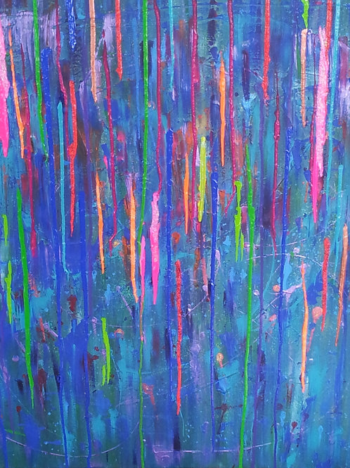 Rainbow Icicle Cave - Acrylic, Shimmer and Liquid Glass Artwork