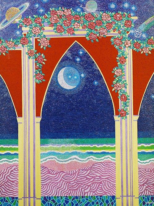 Arabesque Night Sky Romance - Reproduction Giclee Art Print On Canvas