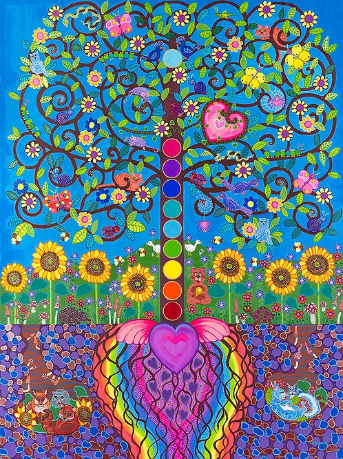 The Sacred Heart Buddha Bodhi Tree of Life  - Reprod. Giclee Art Print On Canvas