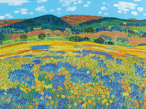 Yellow and Purple Weed Outback Carpet - Reproduction Giclee Art Print On Canvas