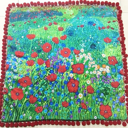 Cushion A Field of Red Poppies - No Crystals
