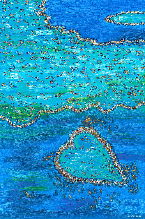 Barrier Reef Heart - Oil, Acrylic and Gold Metallic Leaf Artwork