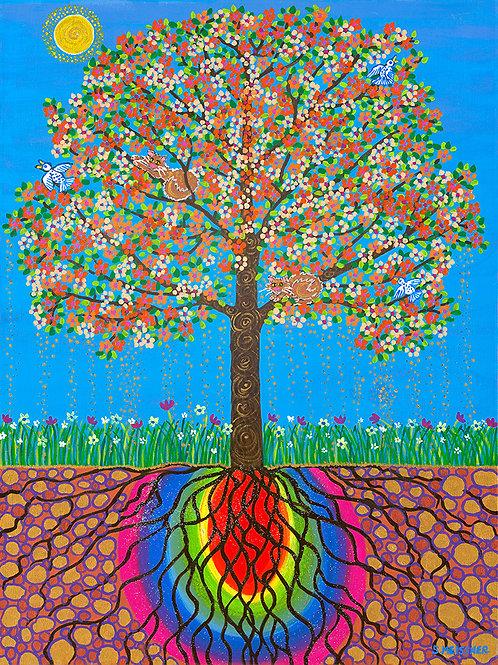 Rainbow Buddha Bodhi Tree - Prints only