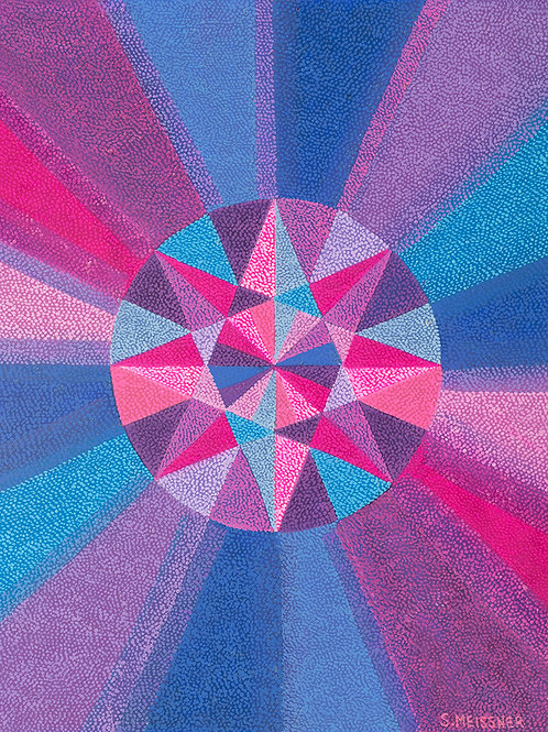Crown Chakra Geometry Map - Reproduction Giclee Art Print On Canvas
