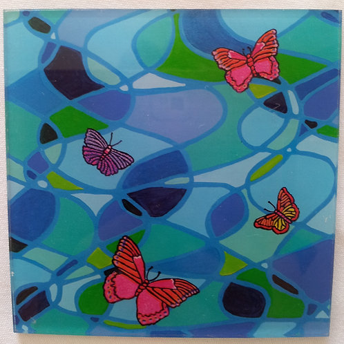 Coffee Mat/Drink Coaster - Butterfly Swirl (Acrylic)