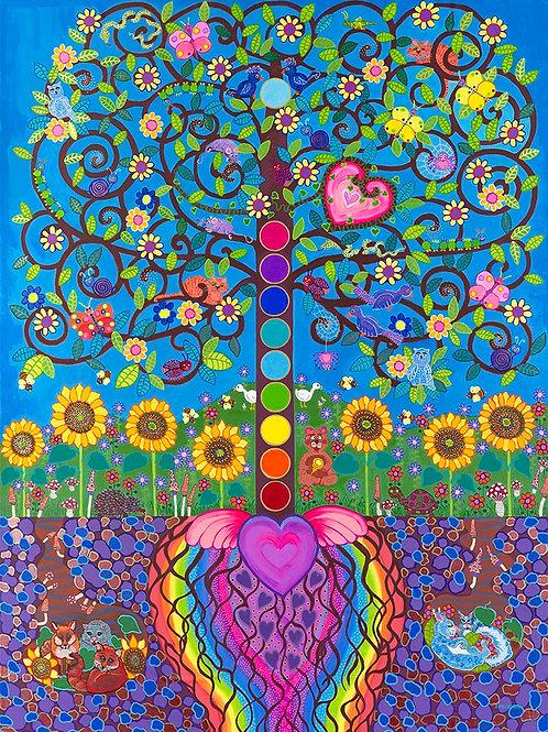 The Sacred Heart Buddha Bodhi Tree of Life - Oil & Acrylic
