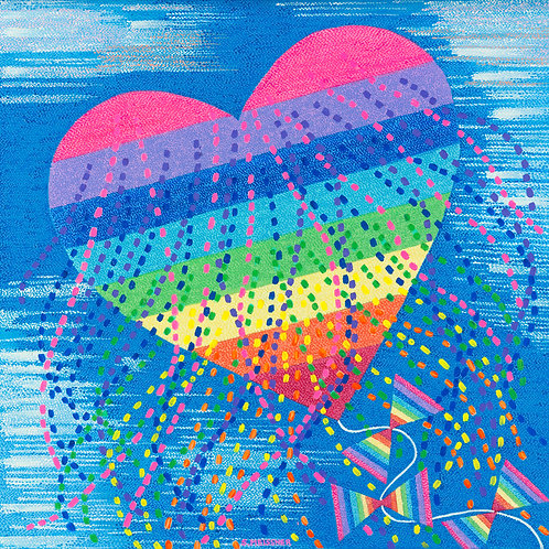 Rainbow Heart - Reproduction Giclee Art Print On Canvas