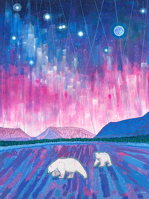 Spirit Polar Bears In Aurora Borealis-Reprod.Giclee Art Print Crystals On Canvas