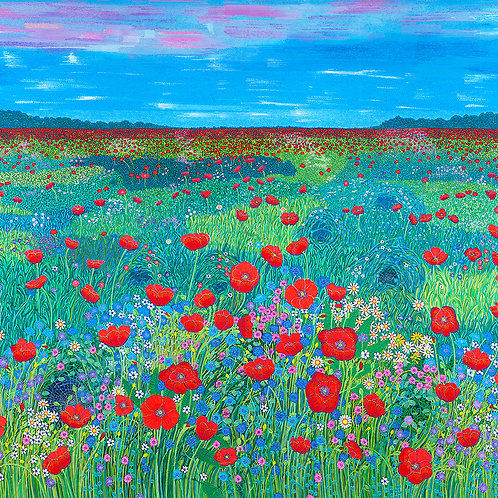 A Field Of Red Poppies and Blue Cornflowers - Reprod. Giclee Art Print On Canvas