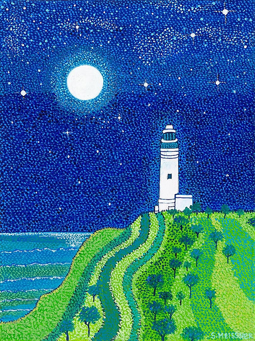 Cape Byron Lighthouse in Blue Moon - Reproduction Giclee Art Print On Canvas