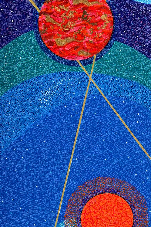 Cosmic Planets Triptych Planet I-Reprod.Art Print On Canvas Swarovski® Crystals