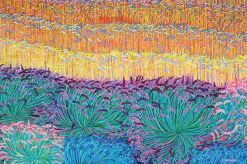 Lavender and Wheatfield - Reproduction Giclee Art Print On Canvas