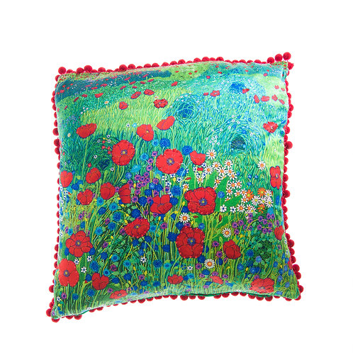 Cushion A Field of Red Poppies - With Swarovski® 100% Branded Crystals