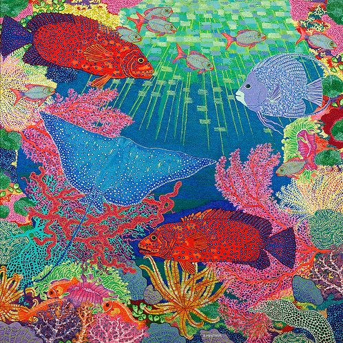 Sea Garden Of Eden - Reproduction Giclee Art Print On Canvas