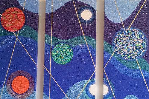 Cosmic Planets Triptych Panel I,II & III-Oil,Acrylic,Swarovski® Crystals Shimmer